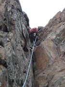 Rock Climbing Photo: Rappelling down the large crack.  My 70 meter rope...