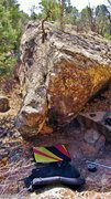 Rock Climbing Photo: Pretense problem climbs the overhanging dihedral.