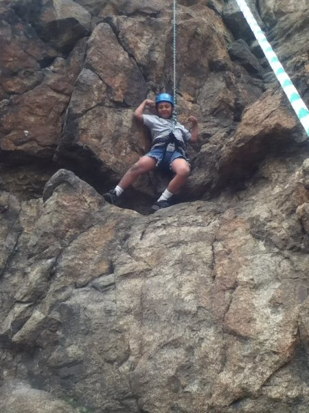 Jesse made it 1/2 way. good for only being 7 years old and his first out door climb.