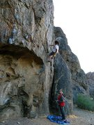Rock Climbing Photo: Climbers getting one last burn on Espresso (5.10c)...