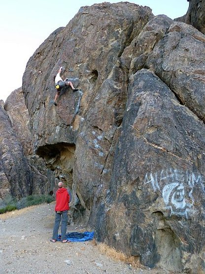 Climbers on Espresso (5.10c) while Captain Zig-Zag watches approvingly, NJC