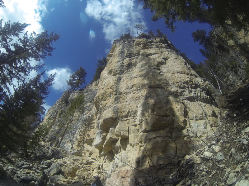 Attitude Adjustment, 5.10a, is the route on the far right-hand side of the Attitude Wall.