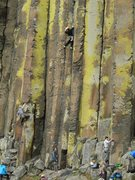 Rock Climbing Photo: The crux of the climb is midway up when transition...
