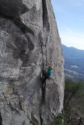 Rock Climbing Photo: Tim Snyder on Tail of the Cat, the original line i...