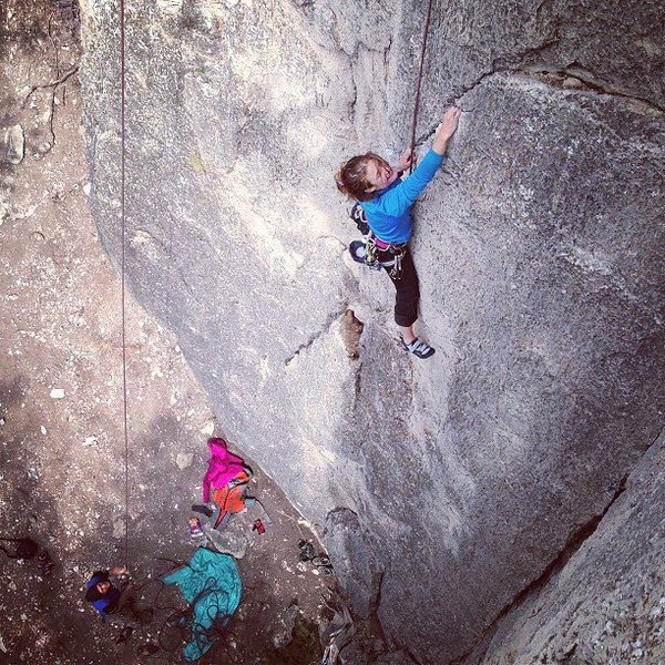 Rebecca top rope tough guying it up the 10a.
