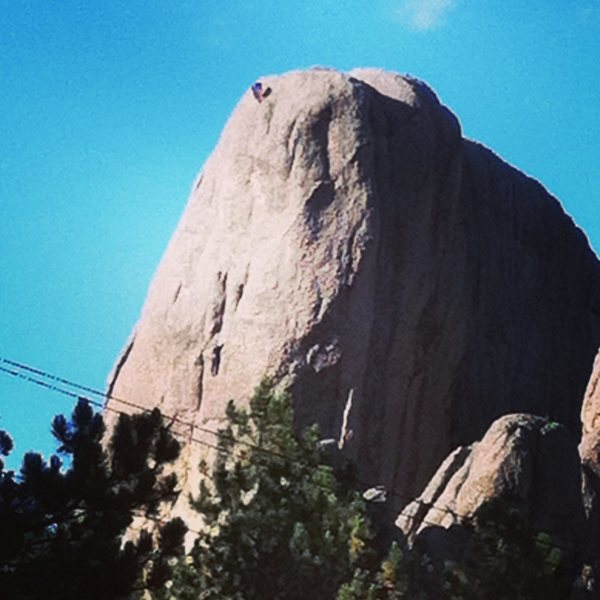 Straight up off the chock stone. <br> Tony Schwartz and Jack Torness climbing in photo.