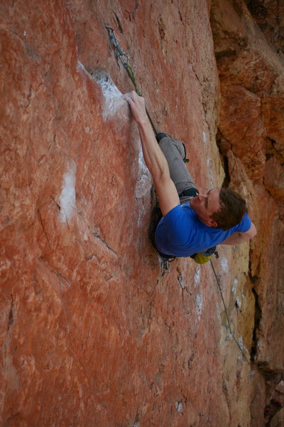 Rock Climbing Photo: Travis warming up, first route at shelf. Make it a...