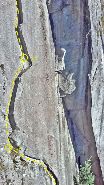 Rock Climbing Photo: The curving corner on the left is P2 and parts of ...