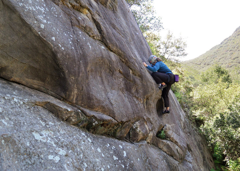 Nicole pulls the crux of From the Ashes, at the Foot in Ojai.