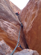 Rock Climbing Photo: On lead just past the 2nd crux.