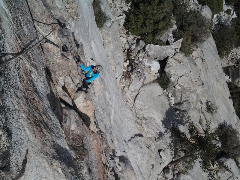Rock Climbing Photo: Heading up to the first belay on Left Ski Track. I...