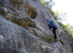 Rock Climbing Photo: Nicole pulls the opening moves of Magic Feather, a...