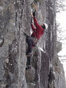 Rock Climbing Photo: Getting set up for the crux.