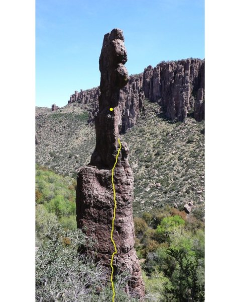 Rock Climbing Photo: The approximate line of the existing climb, ending...