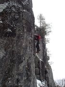 Rock Climbing Photo: Getting through the crux.  Good tools but poor fee...