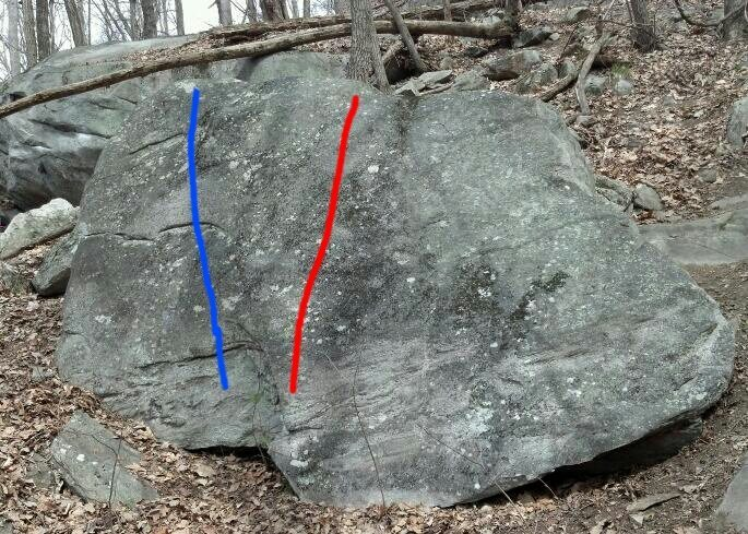 Rock Climbing Photo: Greenback follows the red line and Penfold the blu...
