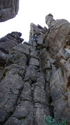 Rock Climbing Photo: DAS on the FA. Rope shows this line, the bottom bo...