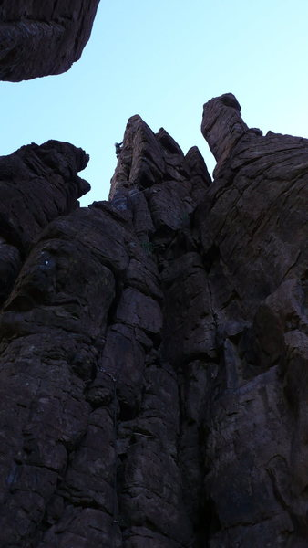 Rock Climbing Photo: DAS barely visible on the upper, extremely committ...