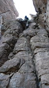 Rock Climbing Photo: DAS on the FA in the lower crack system.