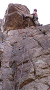 Rock Climbing Photo: AMH on the FA deciding that the crest of the arete...