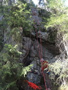 Rock Climbing Photo: The route goes up the crack and through the roof.