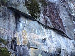 Rock Climbing Photo: The route follows the traversing crack under the o...