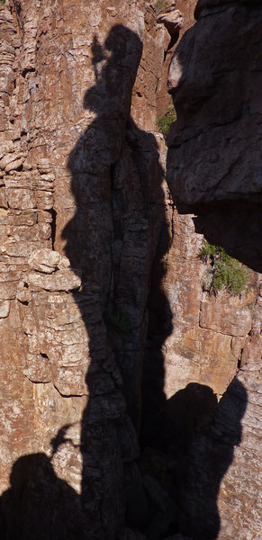 Shadow pic of me atop the Shmotem Pole, bringing up a climber on the last pitch. Photo by me, taken at the LDE 'coming out' party in 2010.