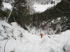 Rock Climbing Photo: Some guide belaying at the top of the steep ice on...