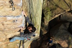 Rock Climbing Photo: David Barbour on Too Many Puppies (5.12a)