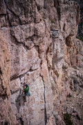 Rock Climbing Photo: Mystery climber (Tom?) moving into the tough upper...