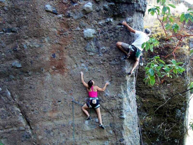 Rock Climbing Photo: Dora watching Jim work the crux before she climbs ...