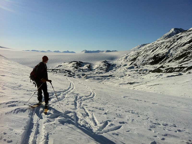 skiing on the harding ice field<br>