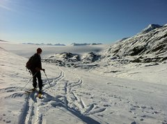 skiing on the harding ice field <br />
