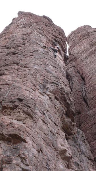 Rock Climbing Photo: DAS heading into the cruxy section.