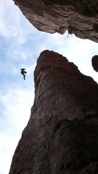 Rock Climbing Photo: AMH being lowered, showing the overhang!