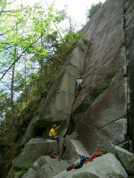 don't be distracted by the sexy climber. Dandy Line is the crack to his right.