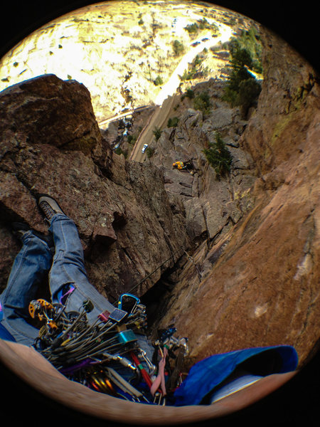 Rock Climbing Photo: Near the top, attentive belays.