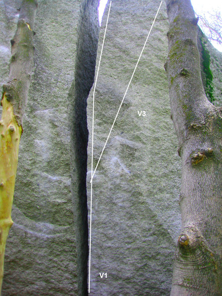 Big Mouth V1:  The first problem in the area, and a classic of its genre.  Head up the offwith and love it.<br> <br> The Knob V3:  Start up the right side of the offwidth for a few moves, then cut out right onto the knob on the arete.  Finish on crimpy sidepulls.