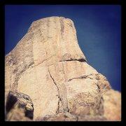 Rock Climbing Photo: Flamingo Drinker goes up right side arête.