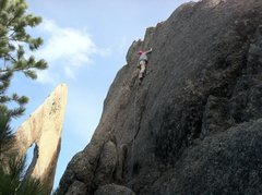 Rock Climbing Photo: Midway up Axe Edge