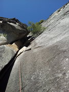 Rock Climbing Photo: Dylan on lead pulling through the 10c undercling v...