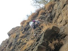 Rock Climbing Photo: On Oyster's Nuts, a trad line on the basalt at Arm...