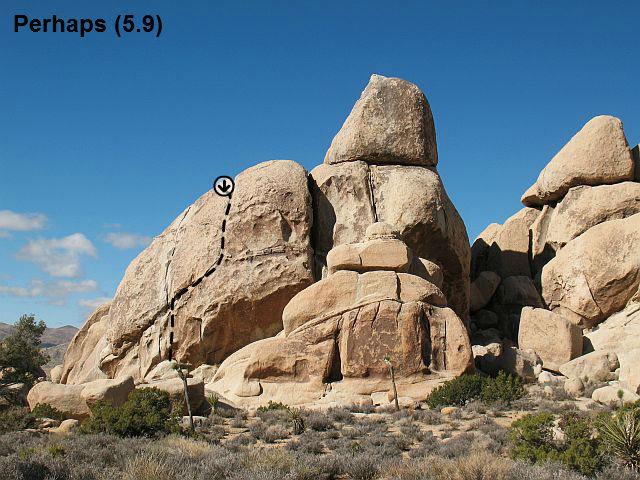 Rock Climbing Photo: Perhaps (5.9), Joshua Tree NP