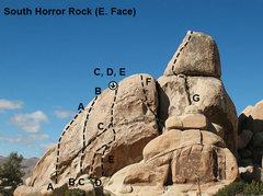 Rock Climbing Photo: Photo/topo for South Horror Rock (E. Face), Joshua...