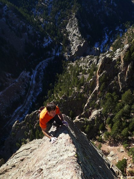 Rock Climbing Photo: John D on our Icarus lunch break, Eldorado Canyon