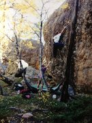 Rock Climbing Photo: Me going for the flat hold. Blake spotting.