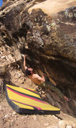 Rock Climbing Photo: Dirty Rotten Scoundrels (V8/9)Vaughn pulling the b...