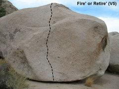 Rock Climbing Photo: Fire' or Retire' (V5), Joshua Tree NP