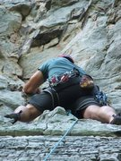 Rock Climbing Photo: AL: Sand Rock, Pin Chimney 5.8+
