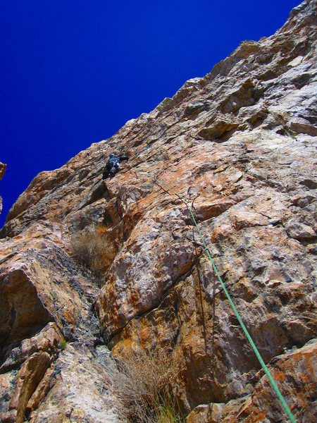 Rock Climbing Photo: Colin working the trad section of Ethics, 5.8.